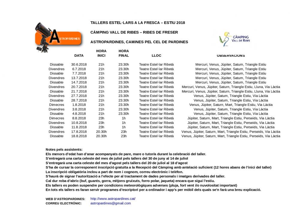 Calendari de Tallers Estel·lars a la Fresca-Estiu 2018-AstroPardines
