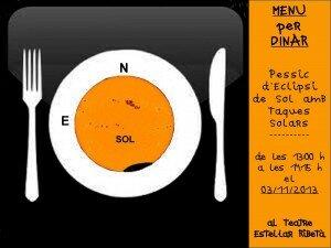 Logo-Obre la gana amb un pessic d'eclipsi de sol i taques solars